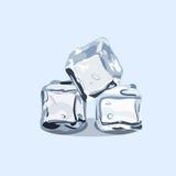Cubos de hielo, vector EPS 10 en el fondo del azul del lishe Imagen de archivo libre de regalías