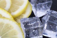 Cubos de hielo y rebanadas del limón Foto de archivo