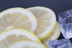 Cubos de hielo y rebanadas del limón Fotos de archivo libres de regalías