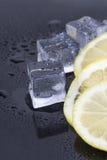 Cubos de hielo y rebanadas del limón Foto de archivo libre de regalías