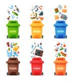 Cubos de la basura de la separación de la segregación del concepto de la gestión de desechos que clasifican reciclando el ejemplo Imagen de archivo libre de regalías
