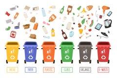Cubos de la basura de la separación de la segregación del concepto de la gestión de desechos que clasifican reciclando el ejemplo Imágenes de archivo libres de regalías