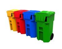Cubos de la basura multicolores de la basura Imagenes de archivo