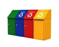 Cubos de la basura multicolores de la basura Imagen de archivo libre de regalías