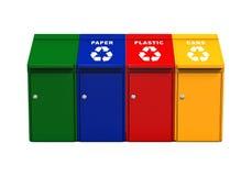 Cubos de la basura multicolores de la basura Fotografía de archivo libre de regalías