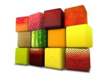 Cubos de la fruta empilados imágenes de archivo libres de regalías