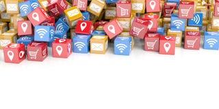 cubos de la representación 3d con el fondo de los símbolos de la PC Foto de archivo libre de regalías
