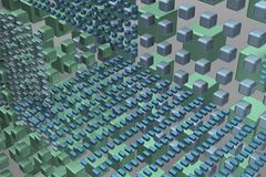 Cubos de la tecnología en fondo en el aire stock de ilustración