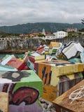 Cubos De Los angeles Memoria przy Llanes portem Asturias Hiszpania obraz stock