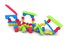 Cubos de madeira da cor que caem para baixo Imagens de Stock