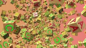 Cubos de madeira do alfabeto do voo abstrato ilustração do vetor