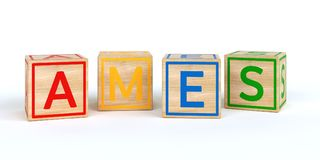 Cubos de madeira isolados do brinquedo com letras com nome ames Fotografia de Stock
