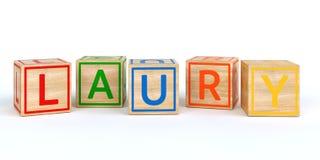 Cubos de madeira isolados do brinquedo com letras com o nome laury Foto de Stock Royalty Free