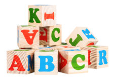 Cubos de madera ABC Fotografía de archivo