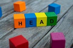 cubos de madera coloreados con las letras se exhibe la cabeza de la palabra, ejemplo abstracto foto de archivo