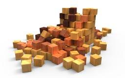 Cubos de madera dispersados Foto de archivo libre de regalías