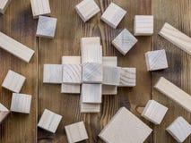 Cubos de madera en la tabla Foto de archivo libre de regalías