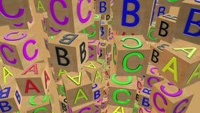 Cubos de madera giratorios del alfabeto que vuelan stock de ilustración