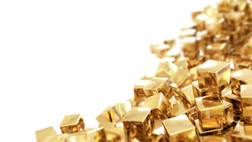 Cubos de oro aislados Fotos de archivo libres de regalías