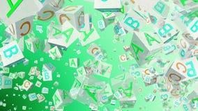 Cubos del alfabeto del vuelo en blanco en verde ilustración del vector