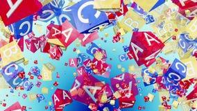 Cubos del alfabeto del vuelo en rojo, azul y amarillo stock de ilustración