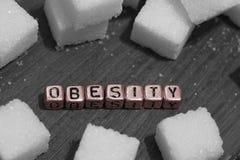 Cubos del azúcar con la obesidad de la palabra Fotos de archivo libres de regalías