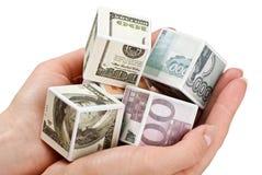 Cubos del dinero Imágenes de archivo libres de regalías
