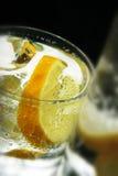 Cubos del limón y de hielo en agua de soda Fotografía de archivo libre de regalías