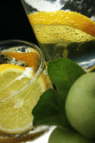 Cubos del limón y de hielo en agua de soda Fotografía de archivo