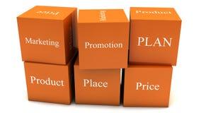 Cubos del plan de márketing Fotos de archivo libres de regalías