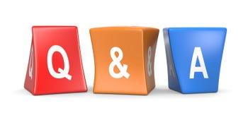 Cubos divertidos del concepto de la pregunta y de la respuesta stock de ilustración