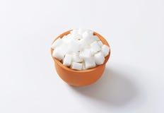 Cubos do açúcar branco Fotografia de Stock