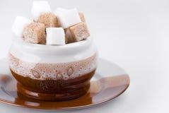 Cubos do açúcar da beterraba e de bastão na açúcar-bacia no gra Imagens de Stock