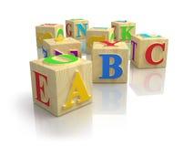Cubos do ABC do alfabeto Fotos de Stock
