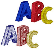 Cubos do alfabeto com A, B, letras de C Imagem de Stock Royalty Free