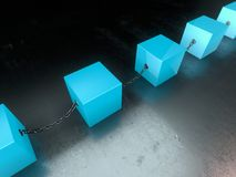 Cubos do azul da tecnologia de Blockchain Imagens de Stock
