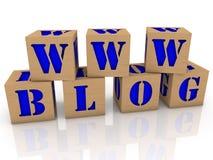 Cubos do brinquedo com o BLOGUE de WWW da mensagem Imagens de Stock
