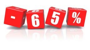 cubos do disconto de 65% em um branco Fotografia de Stock Royalty Free