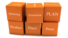 Cubos do plano de marketing Fotos de Stock Royalty Free