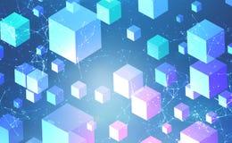 Cubos do vermelho azul e interface de rede poligonal ilustração stock