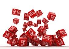 Cubos do vermelho de Fallingt Fotos de Stock