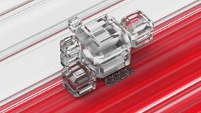 Cubos do vidro geado em um fundo colorido ilustração 3D Foto de Stock Royalty Free