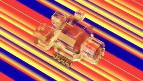 Cubos do vidro geado em um fundo colorido ilustração 3D Imagem de Stock Royalty Free