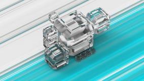 Cubos do vidro geado em um fundo colorido ilustração 3D Fotografia de Stock Royalty Free