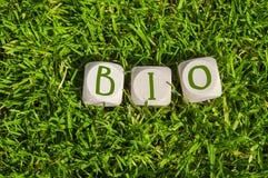 Cubos e dados com o termo BIO imagem de stock
