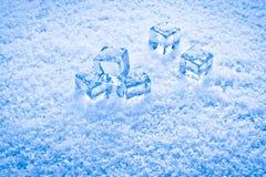 Cubos e neve molhados de gelo Imagem de Stock