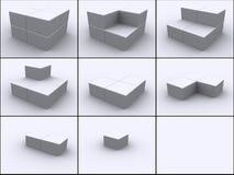 Cubos en pasos de progresión Imagen de archivo libre de regalías