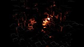 Cubos escuros abstratos e flashes vermelhos brilhantes ilustração stock