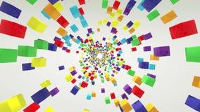 Cubos festivos de un arco iris de la representación 3d en un fondo blanco que hace girar el lazo inconsútil infinito stock de ilustración