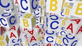 Cubos giratorios del alfabeto que vuelan en diversos colores libre illustration